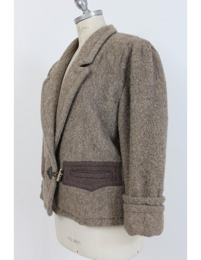Byblos Brown Beige Wool Short Casual Coat For Sale 1