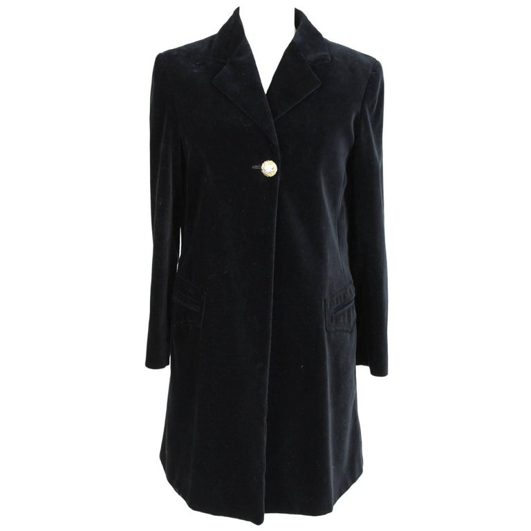 Byblos Cape Poncho Black Velvety Cotton Italian Coat, 1980s
