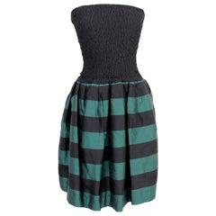 Byblos Green Black Silk Short Rockabilly Dress