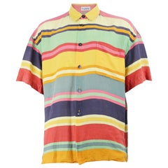 Byblos Men's 1980s Vintage Striped Linen Short Sleeve Button up Summer Shirt