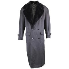 Byblos Men's Vintage Fine Grey Wool Overcoat with Black Faux Fur Collar, 1990s