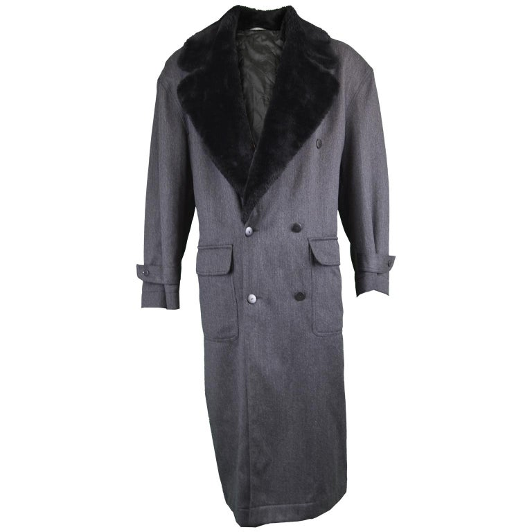 Byblos Men's Vintage Fine Grey Wool Overcoat with Black Faux Fur Collar, 1990s  For Sale