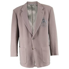 Byblos Vintage 1980s Men's Taupe Cashmere & Wool Embroidered Blazer Jacket