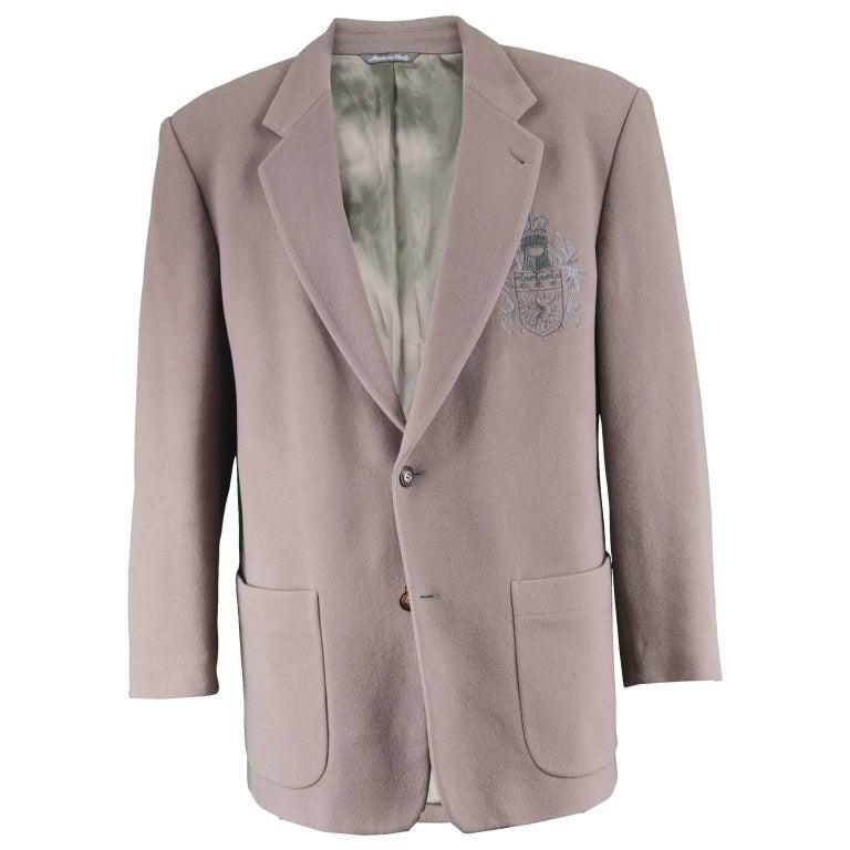 Byblos Vintage 1980s Men's Taupe Cashmere & Wool Embroidered Blazer Jacket