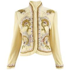Byblos Vintage Beaded Embroidered Velvet Jacket