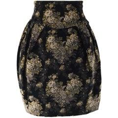 Byblos Vintage Black Velvet Floral High Waist Skirt