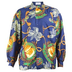 Byblos Vintage Men's Blue Pure Silk Long Sleeve Baroque Print Shirt, 1980s