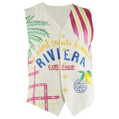 Byblos Vintage Men's White Cotton 'Riviera' Summer Print Waistcoat Vest, 1980s