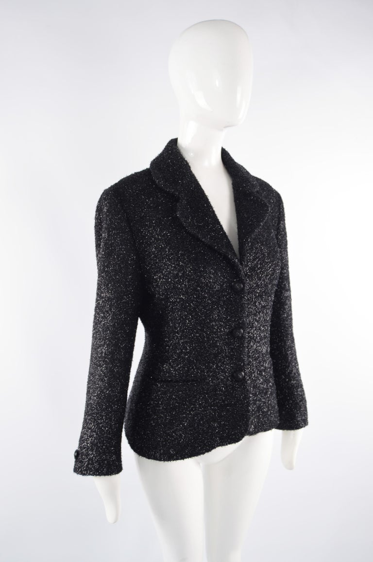 Byblos Vintage Womens Black Sparkly Fuzzy Fabric Party Jacket, 1980s In Excellent Condition For Sale In Doncaster, South Yorkshire