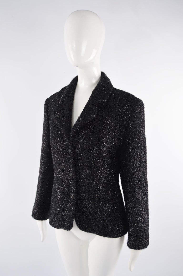 Byblos Vintage Womens Black Sparkly Fuzzy Fabric Party Jacket, 1980s For Sale 1