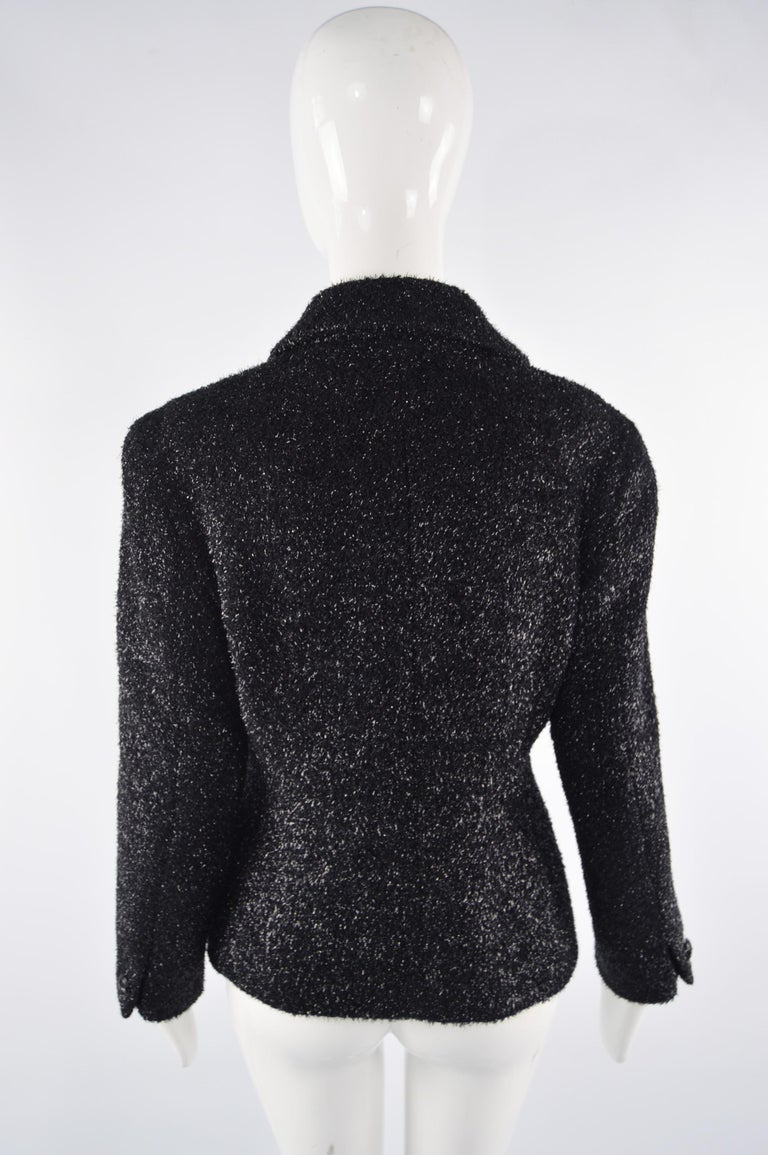Byblos Vintage Womens Black Sparkly Fuzzy Fabric Party Jacket, 1980s For Sale 3