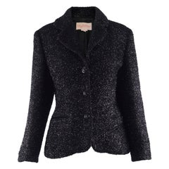 Byblos Vintage Womens Black Sparkly Fuzzy Fabric Party Jacket, 1980s