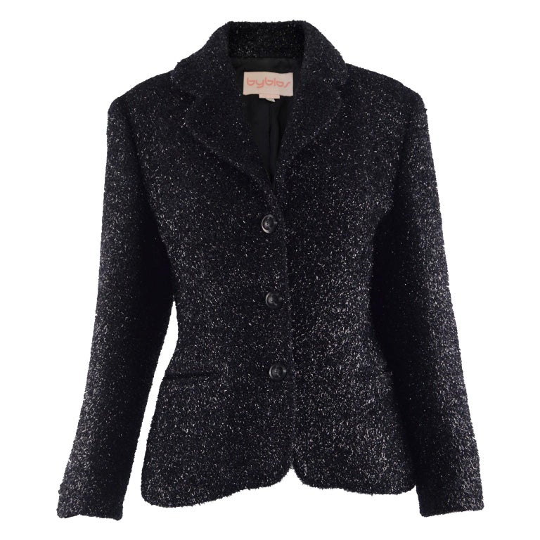 Byblos Vintage Womens Black Sparkly Fuzzy Fabric Party Jacket, 1980s For Sale