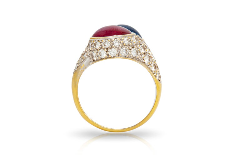 Women's Bypass Cabochon Ruby and Sapphire Diamond Ring For Sale