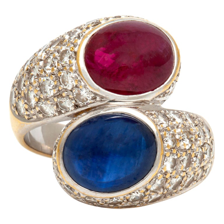 Bypass Cabochon Ruby and Sapphire Diamond Ring For Sale