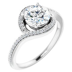 Bypass Halo GIA Certified Round Brilliant White Diamond Engagement Ring