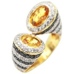 Bypass Twisted Yellow Sapphire Gold Ring Black White Diamond Stripe