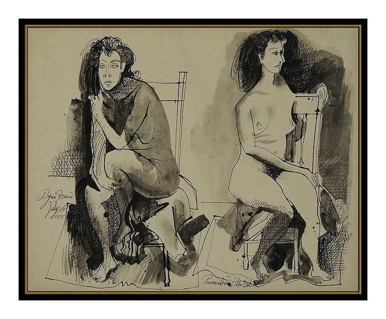 Byron Browne Original Gouache Painting Signed Nude Portrait Antique Artwork oil For Sale 1
