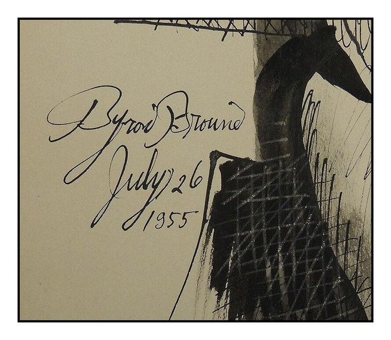 Byron Browne Original Gouache Painting Signed Nude Portrait Antique Artwork oil For Sale 2