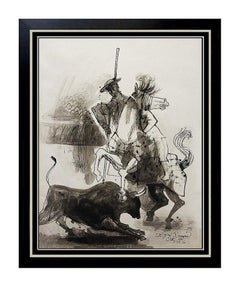 BYRON BROWNE Original PAINTING Gouache on Board Signed Rare Don Quixote Art oil