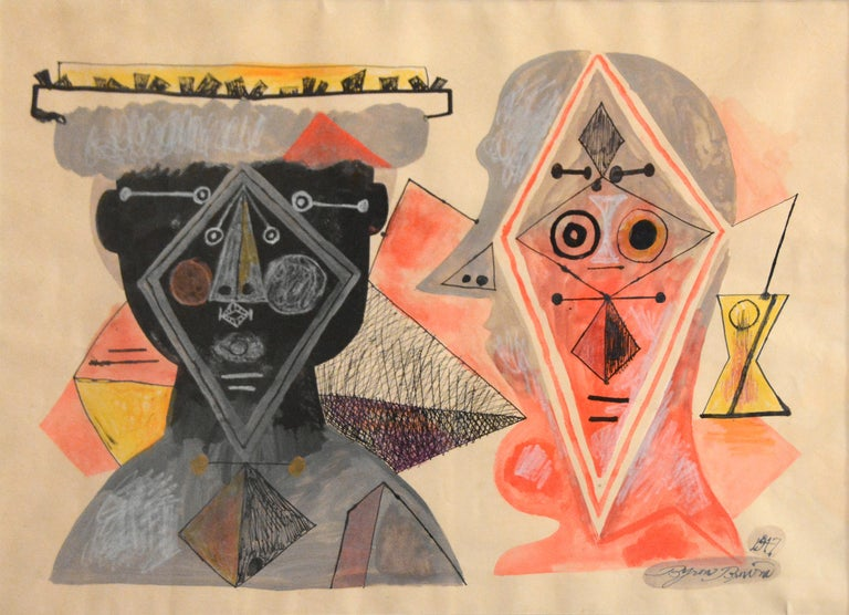 """Modern Abstract painting by American, Byron Browne, titled """"Two Heads"""" - Painting by Byron Browne"""