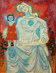 Modern Abstract painting of Mother and Child by American painter, Byron Browne