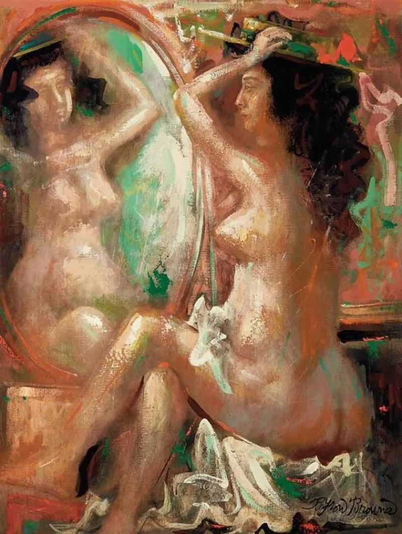"""""""Nude by the Mirror"""" Mid-Century Modern Expressionist and Cubist Figure"""