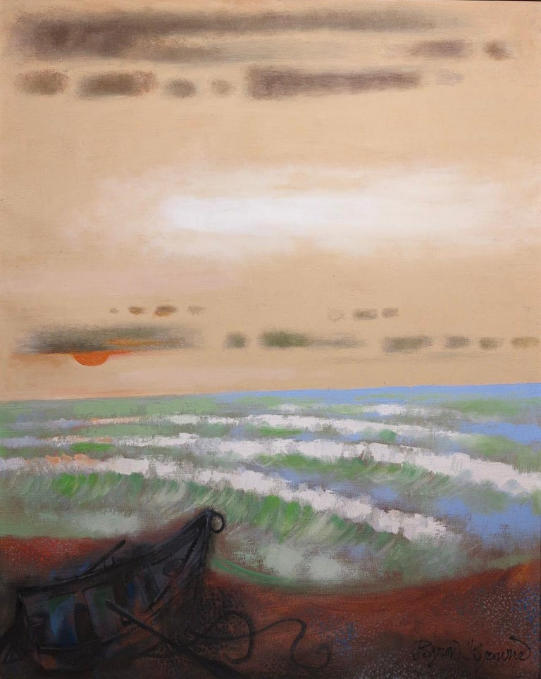 Provincetown Beach (abstract seascape painting) - Painting by Byron Browne