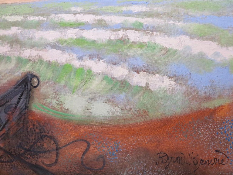 Provincetown Beach (abstract seascape painting) - Brown Abstract Painting by Byron Browne