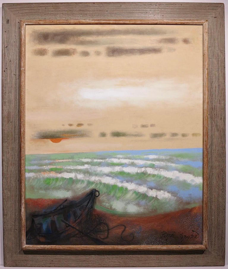 Byron Browne Abstract Painting - Provincetown Beach (abstract seascape painting)