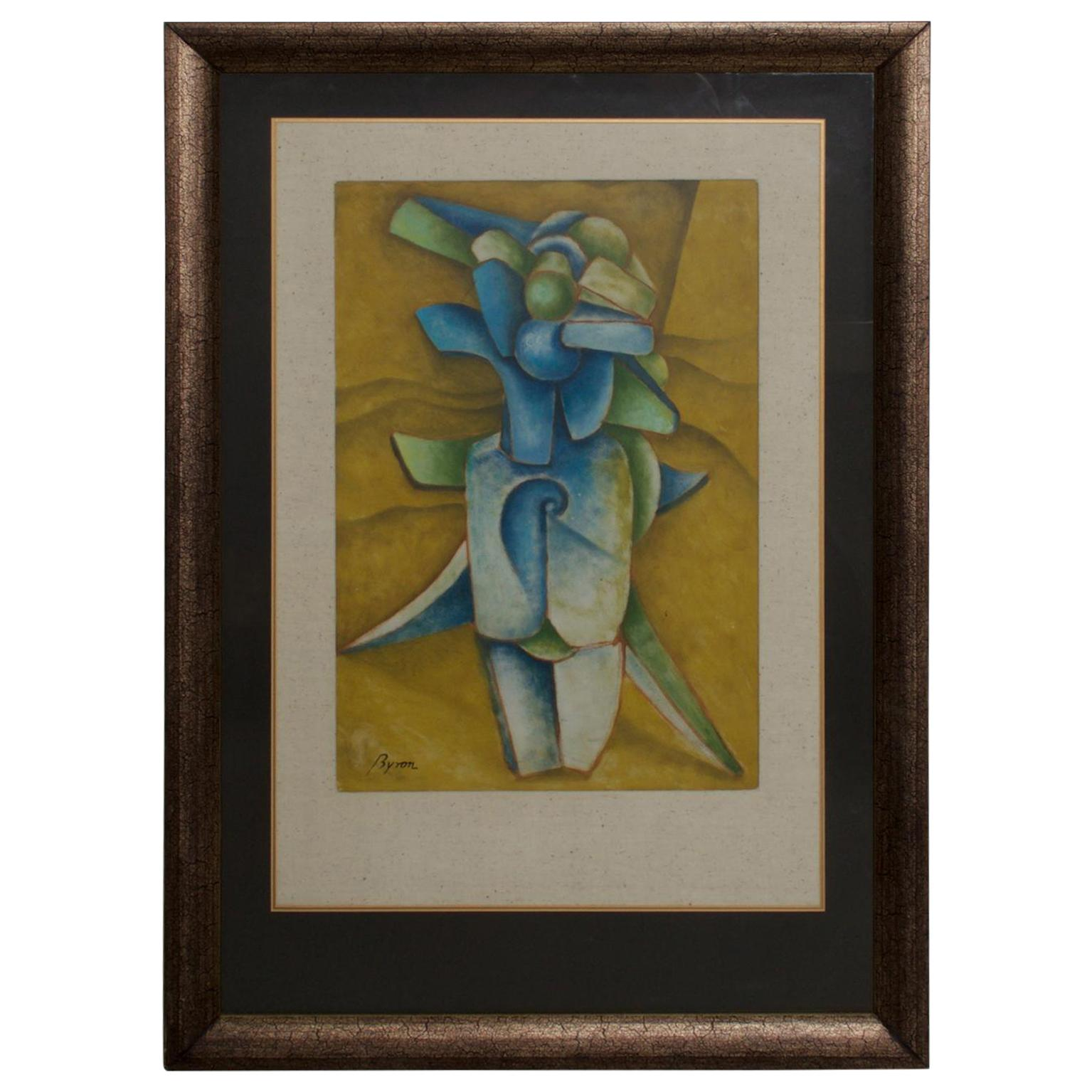 Byron Galvez Mexico Abstract Modernism Pastel on Paper in Blue
