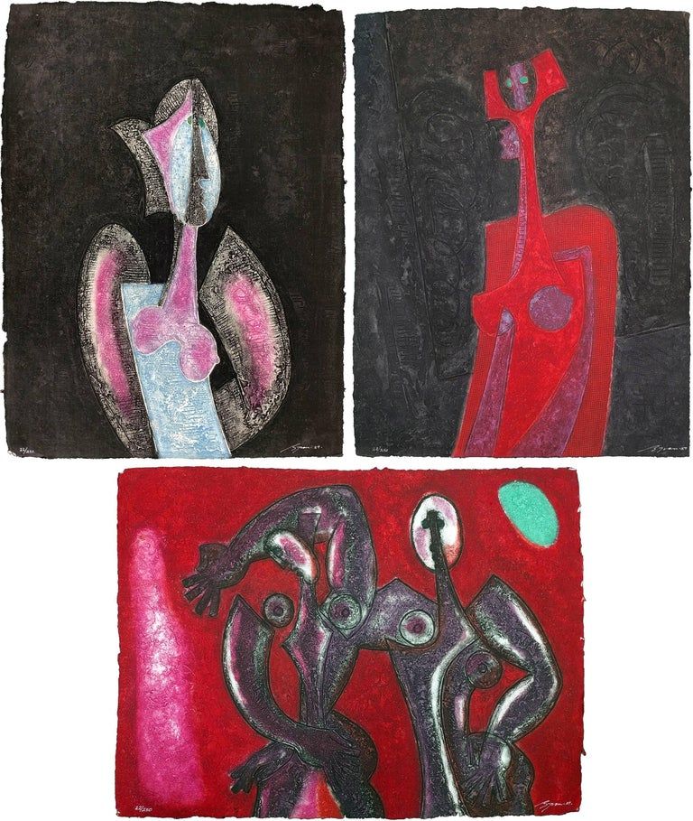 """Viva Suite of three acryligraphs on handmade paper, """"Eve"""", """"Rosa"""" and """"Rojo."""" Each hand signed and numbered. Edition of 250. Artwork is in excellent condition. Certificate of Authenticity included.  All reasonable offers will be considered."""