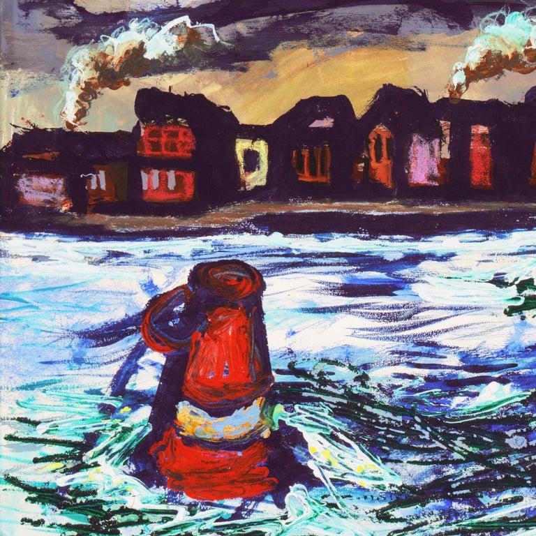 'Fremantle Harbor', Post Impressionist, San Francisco California, SFAA, MOMA - Modern Painting by Byron Randall