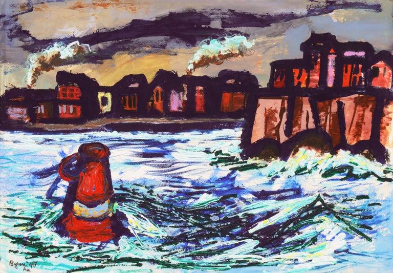 Byron Randall Landscape Painting - 'Fremantle Harbor', Post Impressionist, San Francisco California, SFAA, MOMA