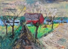 """""""Spring Fields, Sheek Island"""" 1955 Oil & Casein Landscape Painting"""