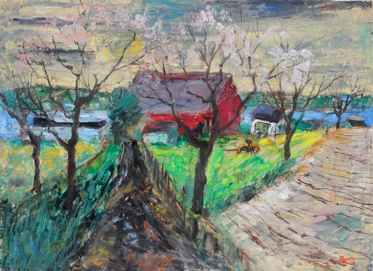 """Entitled """"Spring Fields, Sheek Island"""" this 1955 oil and casein landscape scene of Canada is by Expressionist West Coast artist Byron Randall (1918-1999). His work is held in permanent collections of the Phillips Collection, the California Palace of"""