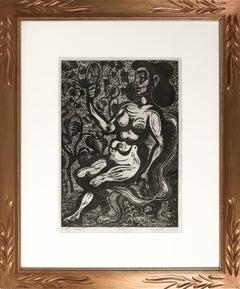 """""""Greek Beauty"""" 1968 Nude Female Woodcut"""