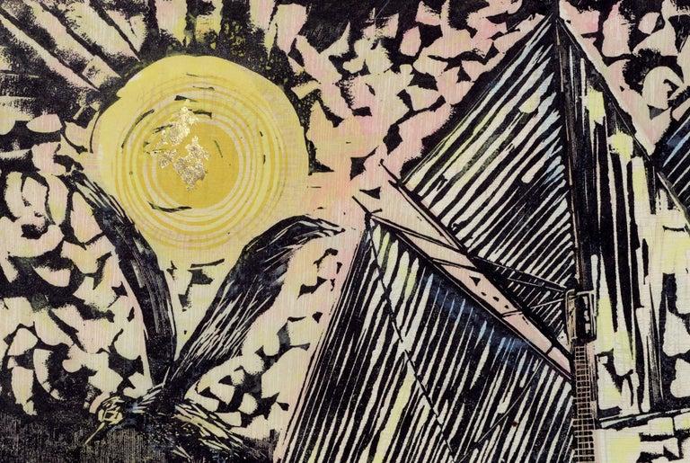 Bold woodblock print by Byron Randall (American, 1918-1999). Titled