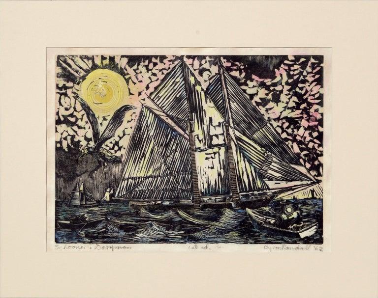 "Byron Randall Landscape Print - ""Schooner + Doryman"" 1st Edition Hand-Colored Woodblock Print"