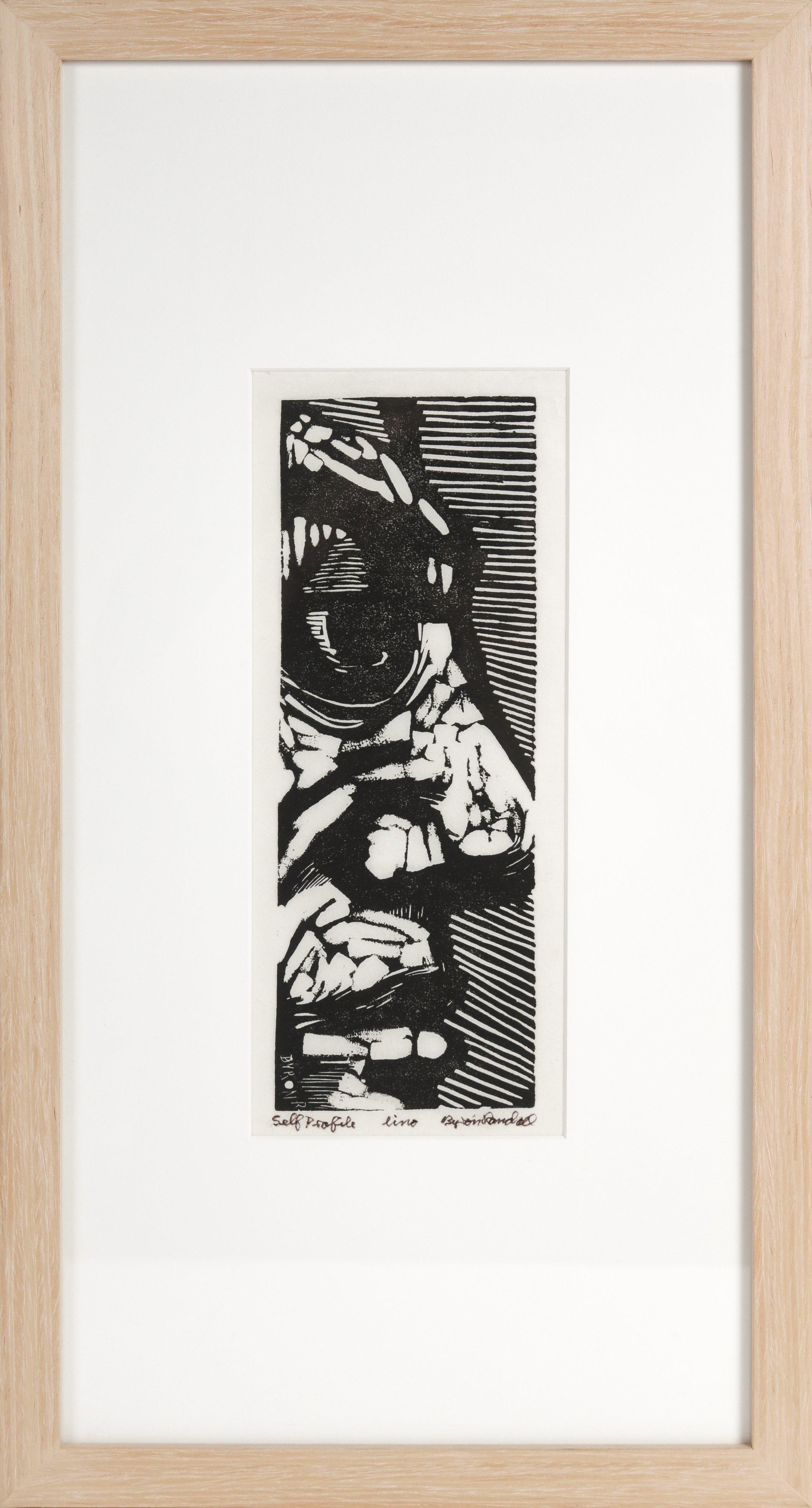 """Self Profile"" Mid Century Black and White Figurative Woodcut"
