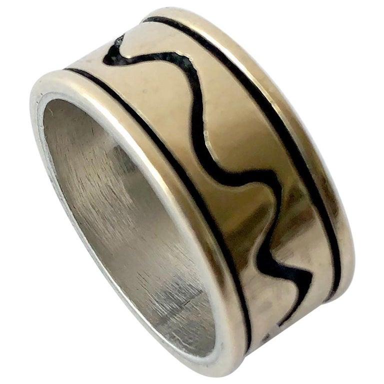 Byron Wilson American Modern Sterling 14 Karat Gold Squiggle Wedding Band Ring For Sale