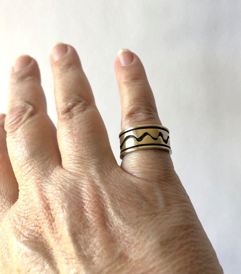 Women's or Men's Byron Wilson American Modern Sterling 14 Karat Gold Squiggle Wedding Band Ring For Sale