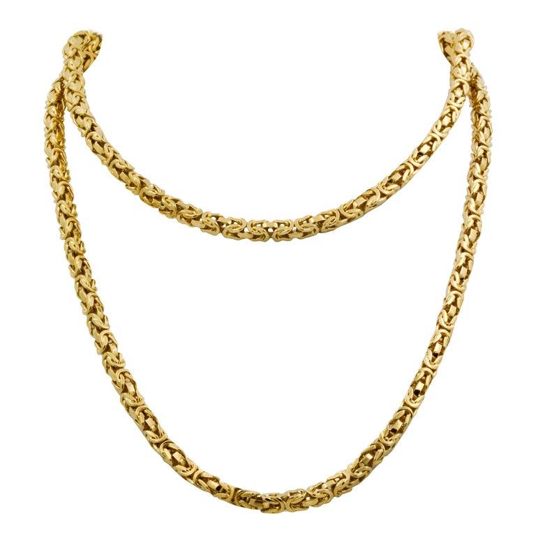 Byzantine 18 Karat Yellow Gold Necklace For Sale