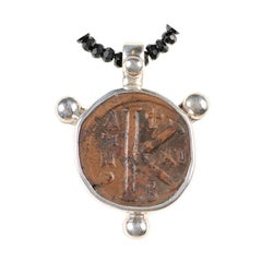 """Byzantine Bronze """"K"""" Coin Necklace in Sterling Silver Surround, circa 550-650 AD"""