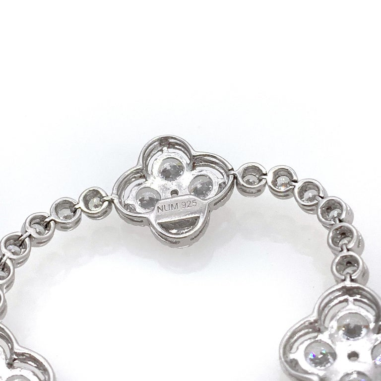Women's Byzantine Clover Sterling Silver Station Bracelet For Sale