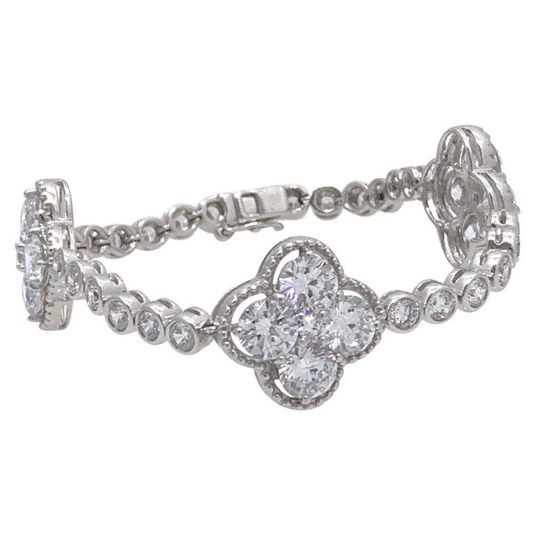Byzantine Clover Sterling Silver Station Bracelet For Sale