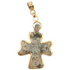 Byzantine Era Bronze Cross Artisan Set into a Beautiful 21-Karat Gold Pendant