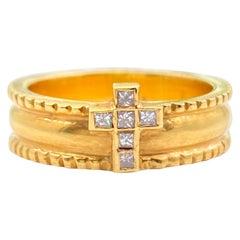Byzantine Etruscan Diamond Cross 18 Karat Yellow Gold Band