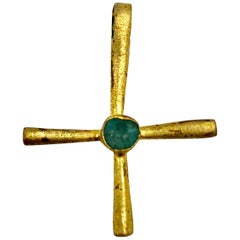 Byzantine Gold and Emerald Cross Pendant, circa 6th Century AD