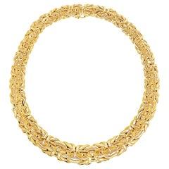 Byzantine Link Intertwined Design 14 Karat Yellow Gold Necklace